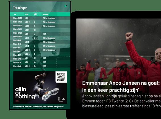 4 x narrowcasting voor je voetbalclub: KantineTV, KleedkamerTV, BestuurskamerTV en BarTV.