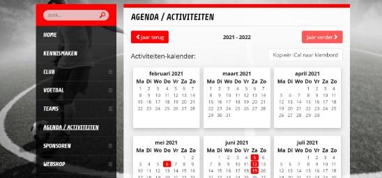 Zet alle activiteiten, (leden)vergaderingen, toernooien en evenementen in een lijst op de website. Zo is iedereen op de hoogte. De agenda is eenvoudig te vertonen in de app en ClubTV.