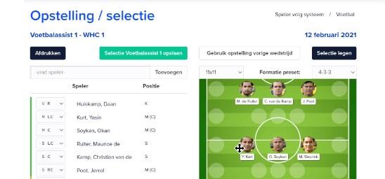 Publiceer de opstelling automatisch op een bepaalde tijd (begin wedstrijd) automatisch op de website.