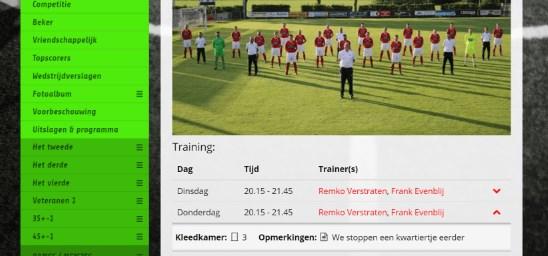 Mooie presentatie van het team + staff + teamsponsor(en) en trainingstijden.