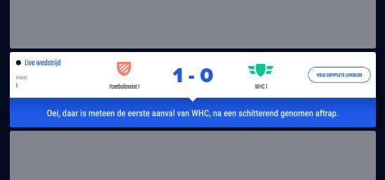 Bijna 100% dekking van alle tussenstanden op de Nederlandse velden van alle eerste teams!