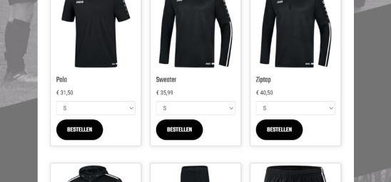 De gehele kledinglijn van de club op de website van je voetbalvereniging. Leden kunnen makkelijk betalen per ideal en het bedrag staat gelijk op de rekening van de club.